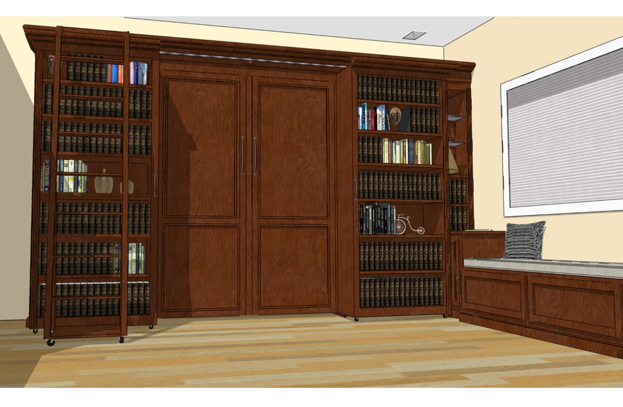 Library Wall Bed Murphy Beds Of San Diego