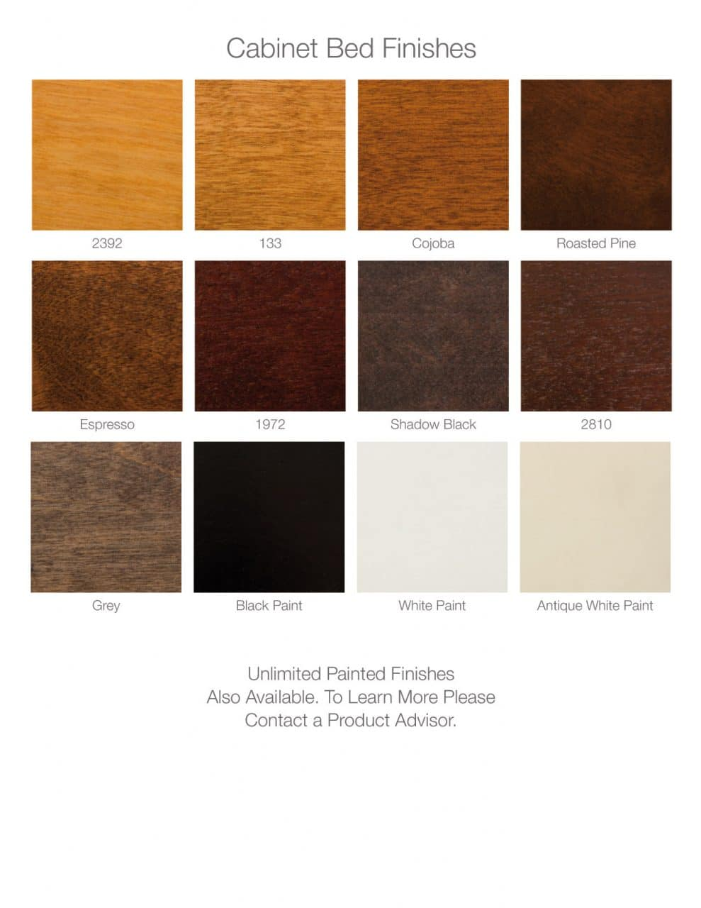 cabinet bed finish choices