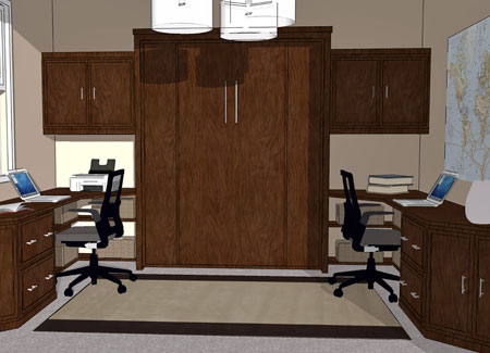 Double Desk Wall Bed System For Home Office