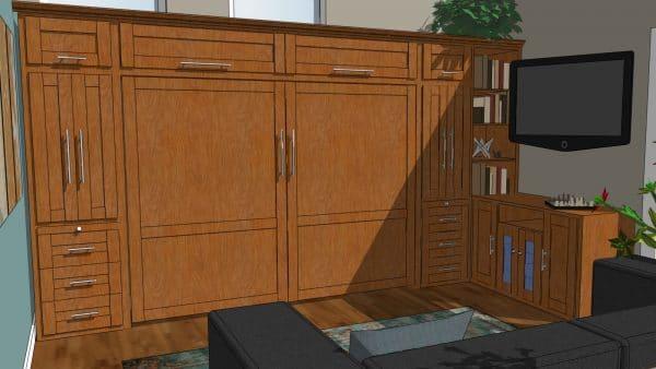 york horizontal wall bed with wardrobe